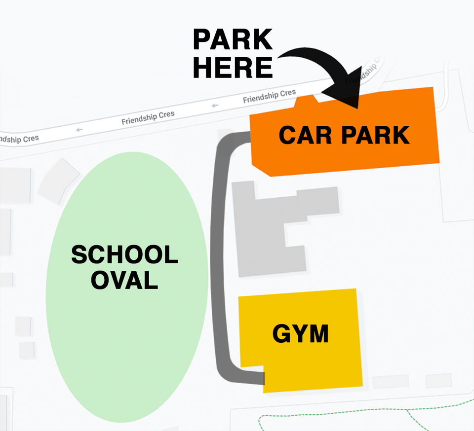 Find us in the King's Baptist Grammar School Gym (Sports Centre) which is located behind the KBGS primary school building. Park in the school parking at Friendship Cres and follow the path around the oval.